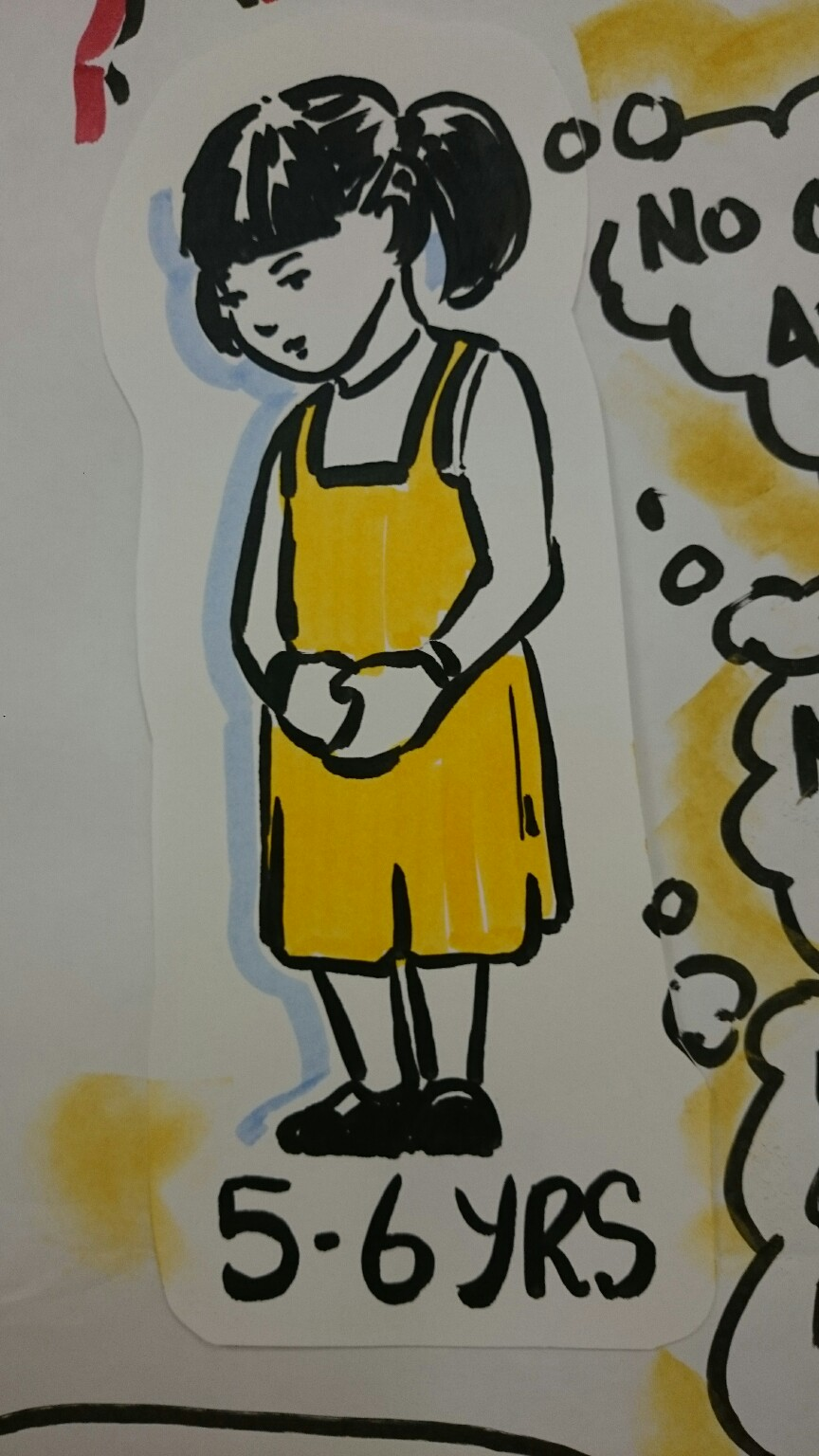 Marker drawing of a 5 or 6 year old girl, wearing yellow.