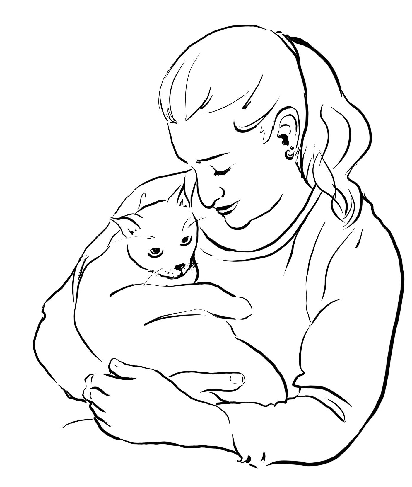 Line drawing of a young woman holding a cat