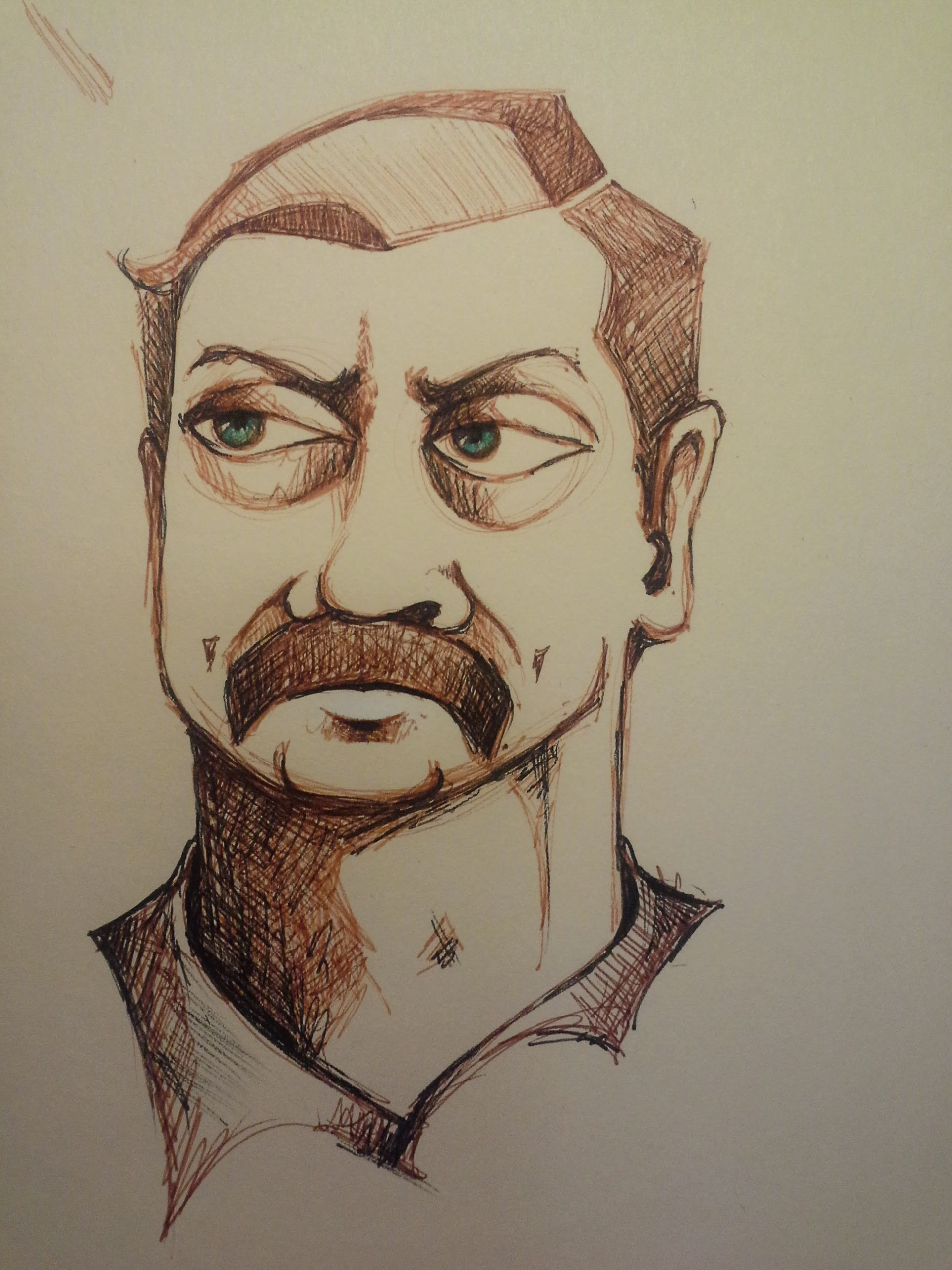 Ron Swanson. TV watching, marker