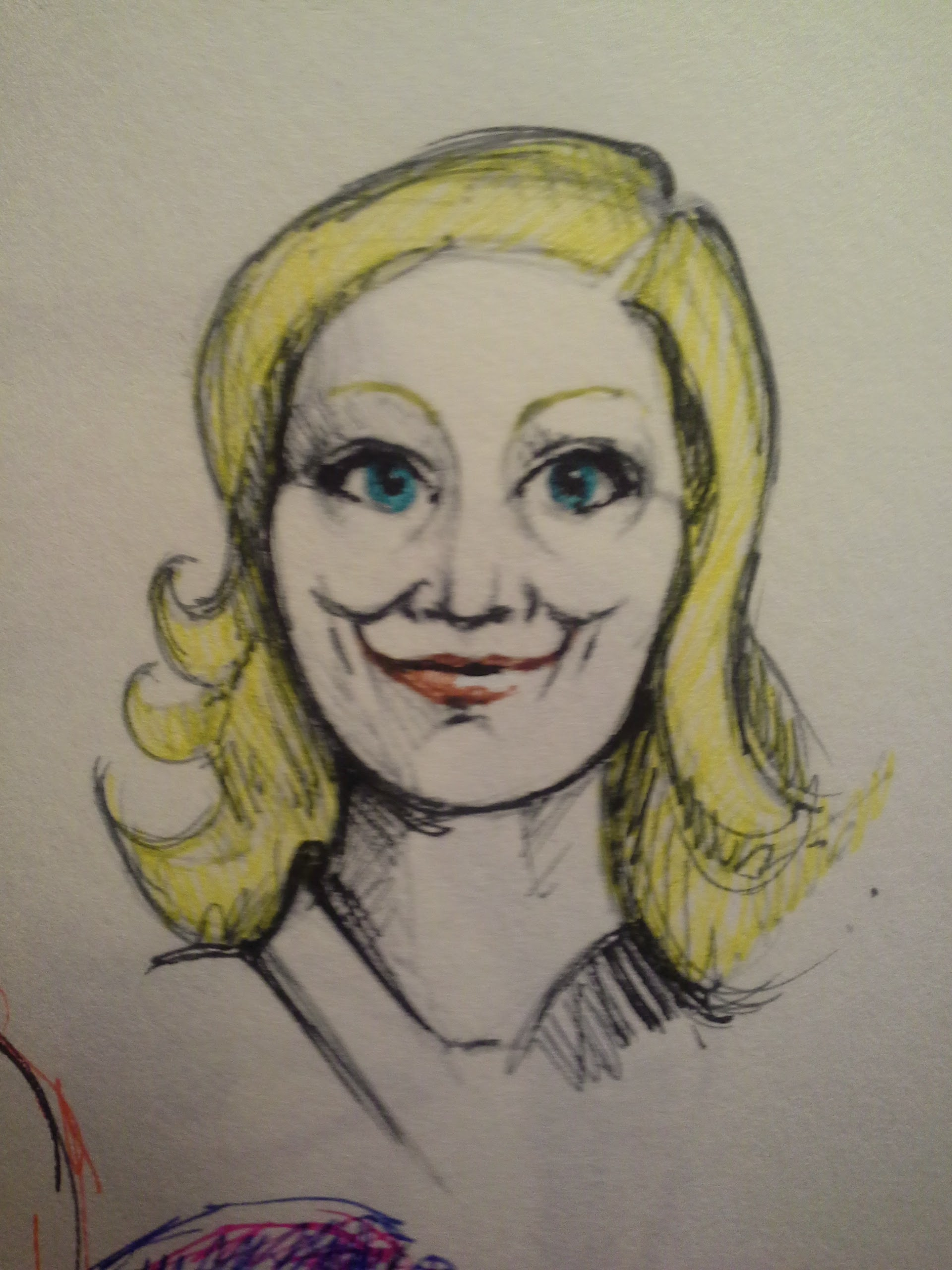 Leslie Knope. TV watching, marker